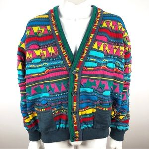 Vtg 1990s Coogi Textured Cardigan Sweater Large